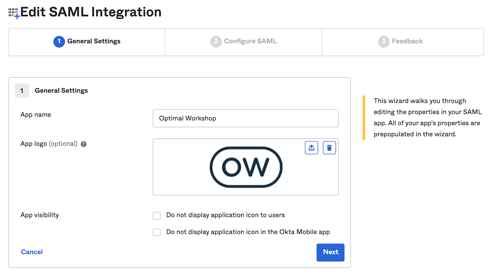 Screenshot of Okta's general settings
